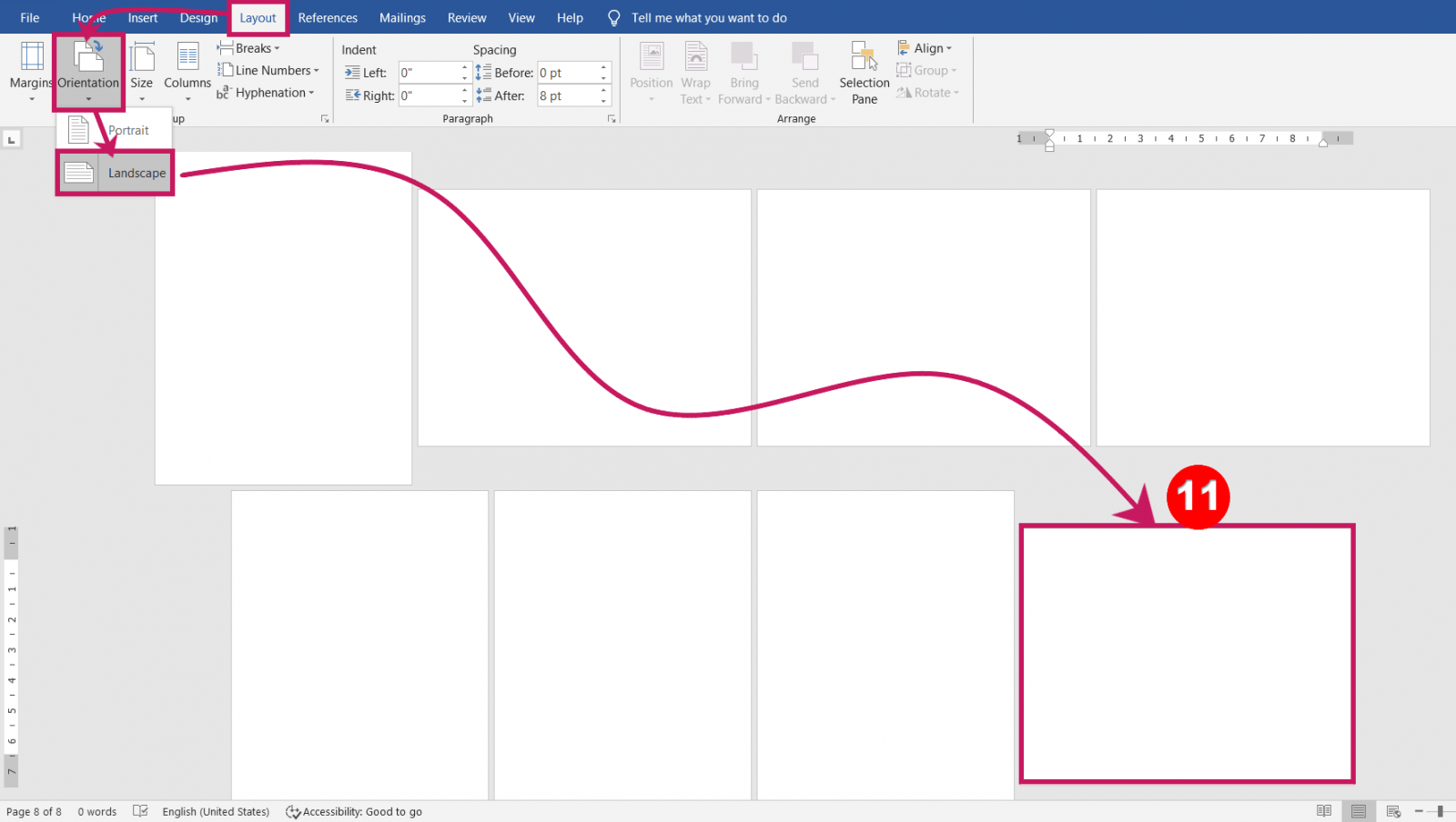 Set Portrait and Landscape Page Orientations at a time in-MS-Word 2020 Master 3