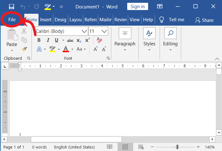 File menu in ms word | Delete a blank page in word